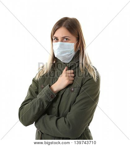 Ill woman wearing mask isolated on white