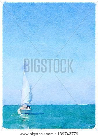 A digital watercolor painting of a sailing boat in the sea with its sails up and with space for text. A portrait picture.