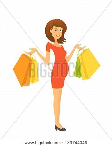 Beautiful pregnant woman with shopping bags. Editable vector illustration