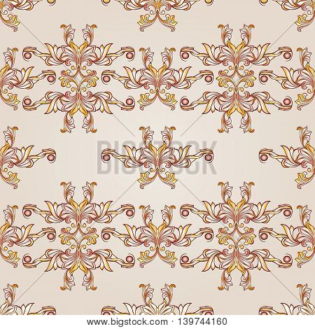 Beige and yellow symmetrical patterns. Light backgrounds.