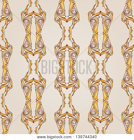 Parallel symmetrical beige patterns. Lines. Light background.