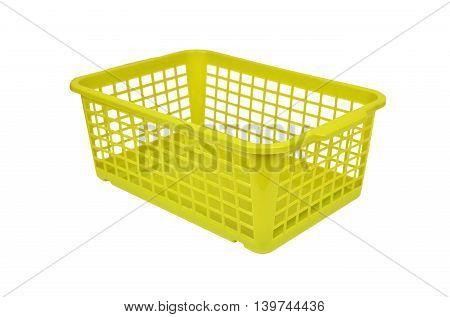 Green plastic basket isolated on white background