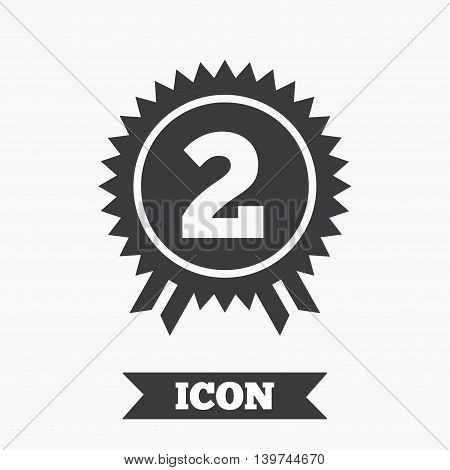 Second place award sign icon. Prize for winner symbol. Graphic design element. Flat winner symbol on white background. Vector