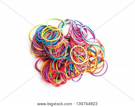group of colorful elastic band on white background