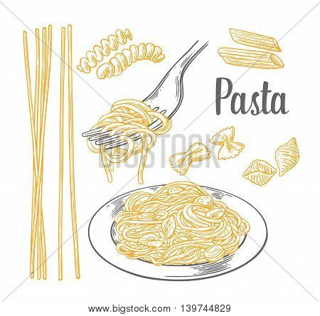 Set pasta - farfalle conchiglie penne fusilli and spaghetti on fork. Vector engraving vintage black and beige illustration isolated on white background.