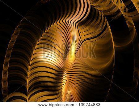 Abstract golden fractal on dark black background