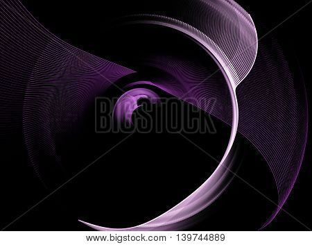Abstract purple swirling fractal on black background