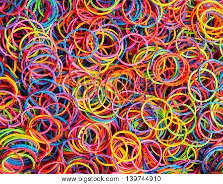 group of colorful elastic band on background