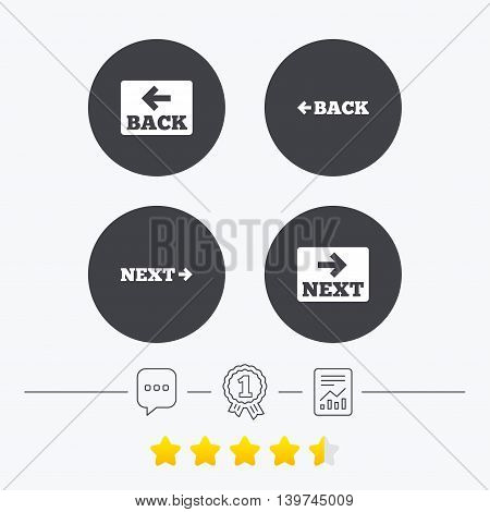 Back and next navigation signs. Arrow direction icons. Chat, award medal and report linear icons. Star vote ranking. Vector