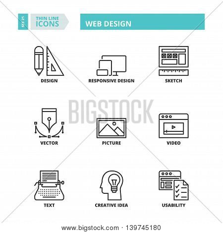 Thin Line Icons. Web Design