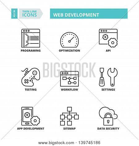 Thin Line Icons. Web Development