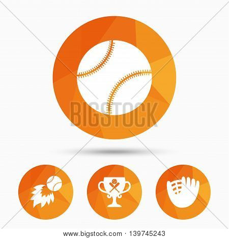 Baseball sport icons. Ball with glove and two crosswise bats signs. Fireball with award cup symbol. Triangular low poly buttons with shadow. Vector