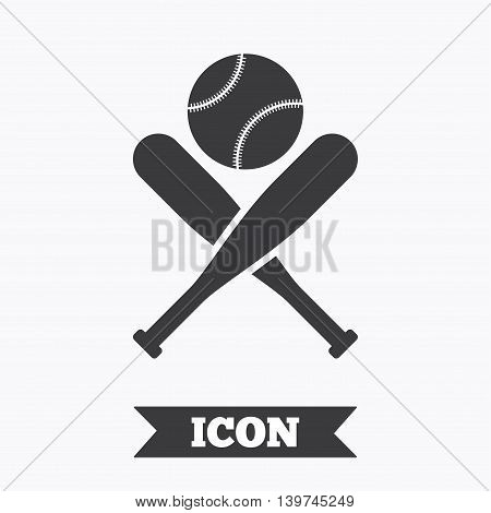 Baseball bats and ball sign icon. Sport hit equipment symbol. Graphic design element. Flat baseball symbol on white background. Vector
