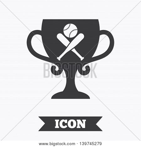 Baseball bats and ball sign icon. Sport hit equipment symbol. Winner award cup. Graphic design element. Flat baseball symbol on white background. Vector