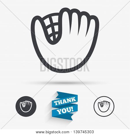 Baseball glove or mitt sign icon. Sport symbol. Flat icons. Buttons with icons. Thank you ribbon. Vector