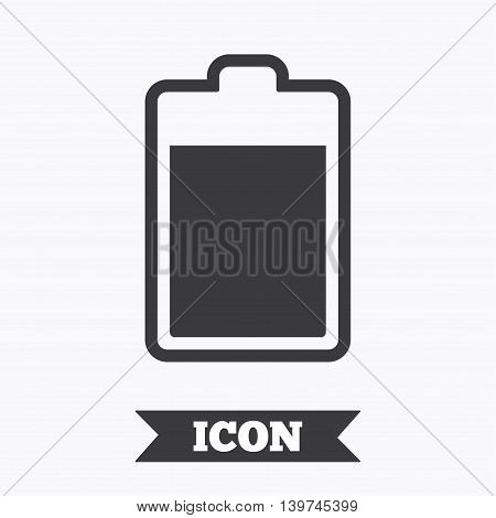Battery level sign icon. Electricity symbol. Graphic design element. Flat battery symbol on white background. Vector