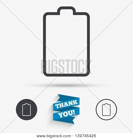Battery empty sign icon. Low electricity symbol. Flat icons. Buttons with icons. Thank you ribbon. Vector