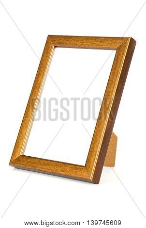 Copper photo frame isolated on white background with clipping path