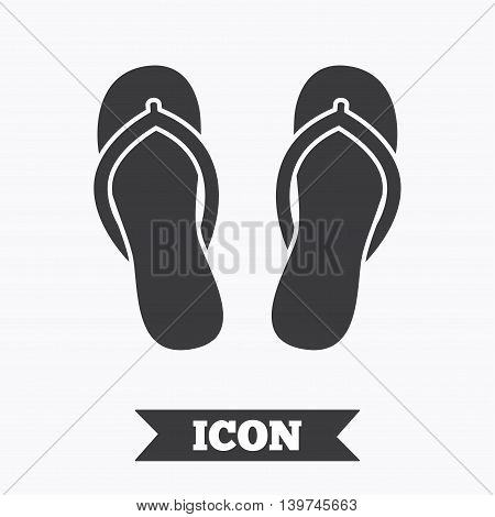 Flip-flops sign icon. Beach shoes. Sand sandals. Graphic design element. Flat sandals symbol on white background. Vector