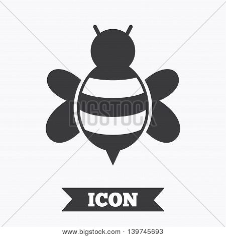Bee sign icon. Honeybee or apis with wings symbol. Flying insect. Graphic design element. Flat bee symbol on white background. Vector