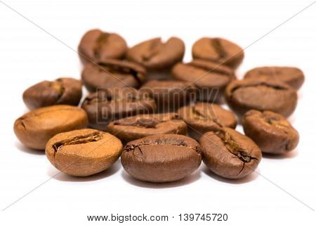 Group of coffee beans close-up. Coffee beans macro.