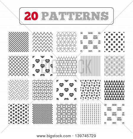 Ornament patterns, diagonal stripes and stars. Best boyfriend and girlfriend icons. Heart love signs. Award symbol. Geometric textures. Vector
