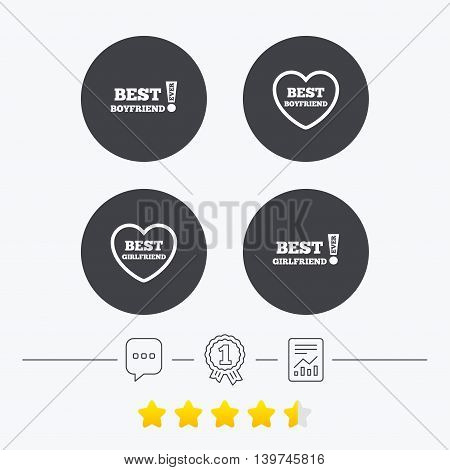 Best boyfriend and girlfriend icons. Heart love signs. Awards with exclamation symbol. Chat, award medal and report linear icons. Star vote ranking. Vector