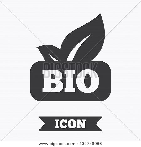 Bio product sign icon. Leaf symbol. Graphic design element. Flat bio symbol on white background. Vector