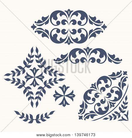 Set of ornamental floral elements for design in vintage stile.