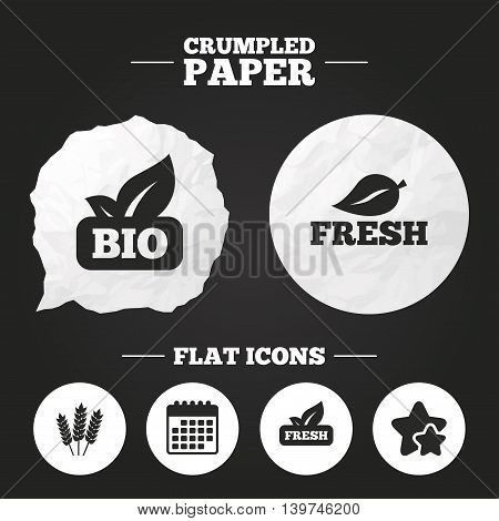 Crumpled paper speech bubble. Natural fresh Bio food icons. Gluten free agricultural sign symbol. Paper button. Vector