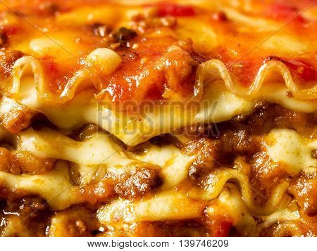 close up of rustic italian cheesy lasagna pasta