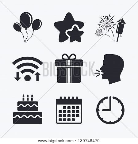 Birthday party icons. Cake and gift box signs. Air balloons and fireworks symbol. Wifi internet, favorite stars, calendar and clock. Talking head. Vector