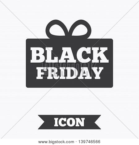 Black friday gift sign icon. Sale symbol. Special offer label. Graphic design element. Flat black friday symbol on white background. Vector