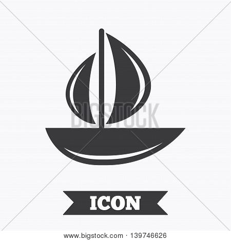 Sail boat icon. Ship sign. Shipment delivery symbol. Graphic design element. Flat yacht symbol on white background. Vector