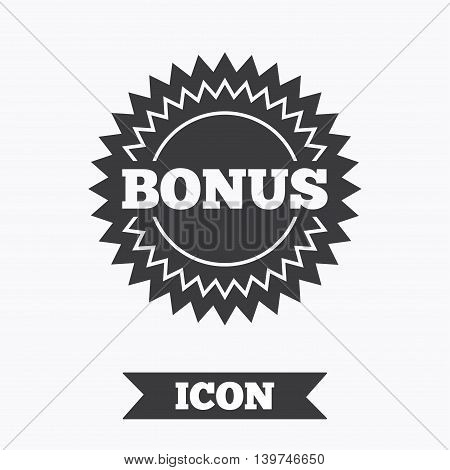 Bonus sign icon. Special offer star symbol. Graphic design element. Flat bonus symbol on white background. Vector