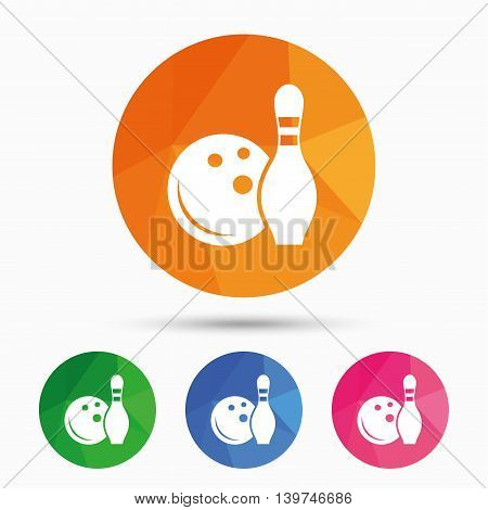 Bowling game sign icon. Ball with pin skittle symbol. Triangular low poly button with flat icon. Vector