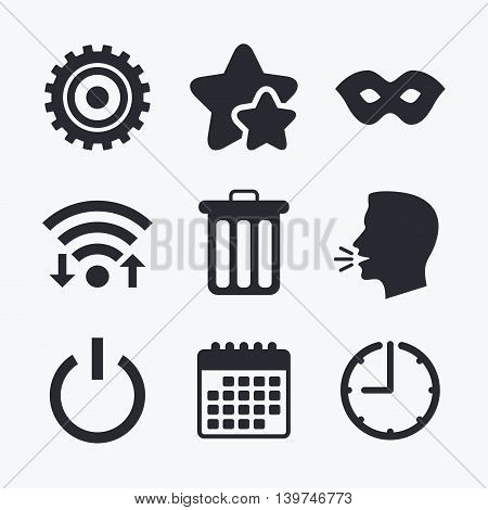 Anonymous mask and cogwheel gear icons. Recycle bin delete and power sign symbols. Wifi internet, favorite stars, calendar and clock. Talking head. Vector