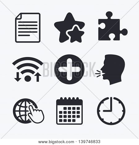Plus add circle and puzzle piece icons. Document file and globe with hand pointer sign symbols. Wifi internet, favorite stars, calendar and clock. Talking head. Vector