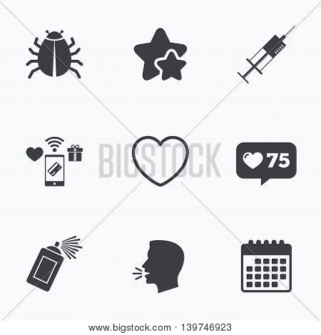 Bug and vaccine syringe injection icons. Heart and spray can sign symbols. Flat talking head, calendar icons. Stars, like counter icons. Vector