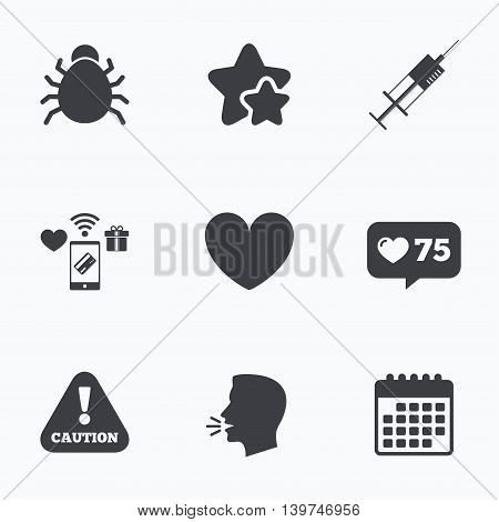 Bug and vaccine syringe injection icons. Heart and caution with exclamation sign symbols. Flat talking head, calendar icons. Stars, like counter icons. Vector