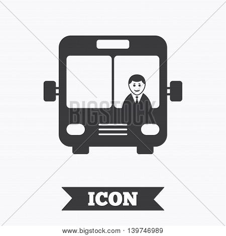 Bus sign icon. Public transport with driver symbol. Graphic design element. Flat bus symbol on white background. Vector