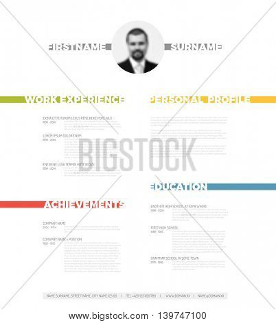 Vector minimalist cv / resume template - minimalistic colorful version with photo in the middle and nice typography