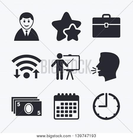 Businessman icons. Human silhouette and cash money signs. Case and presentation symbols. Wifi internet, favorite stars, calendar and clock. Talking head. Vector