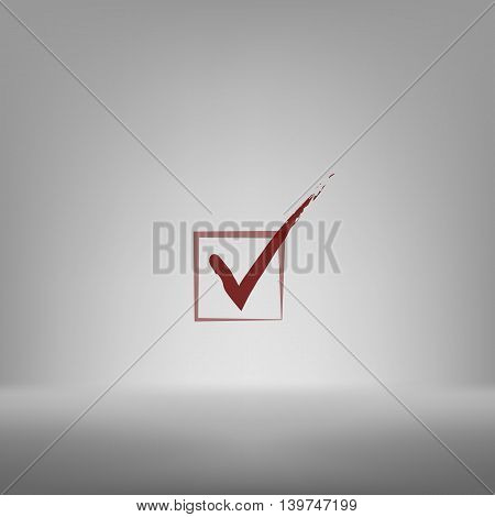 Flat Paper Cut Style Icon Of Check Box