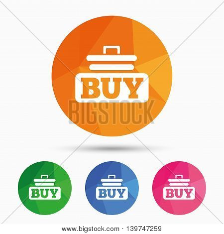 Buy sign icon. Online buying cart button. Triangular low poly button with flat icon. Vector