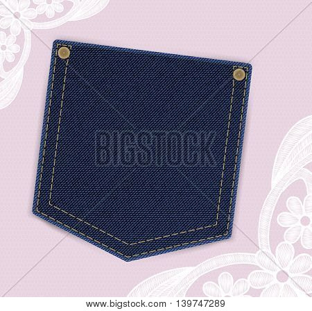Denim jeans pocket with price or invitation label on the lace background. Backdrop is provided with lace flowers. Light and girly design. Ideal as template for textile discount offers or invitations.