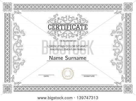 Vintage certificate with luxury ornamental frames, coupon, diploma, voucher, award template for achievements, progress business, education. Vector.