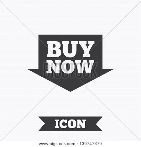 Buy now sign icon. Online buying arrow button. Graphic design element. Flat buying symbol on white background. Vector