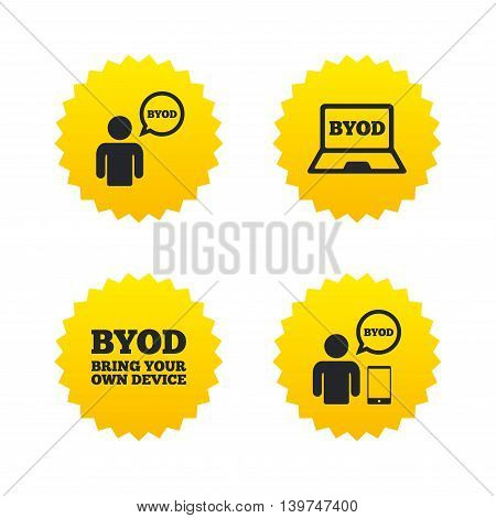 BYOD icons. Human with notebook and smartphone signs. Speech bubble symbol. Yellow stars labels with flat icons. Vector