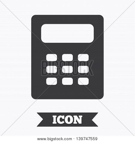 Calculator sign icon. Bookkeeping symbol. Graphic design element. Flat calculator symbol on white background. Vector
